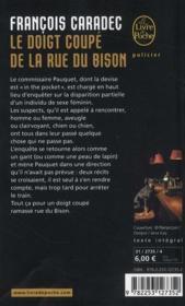 Le doigt coupé de la rue du bison - 4ème de couverture - Format classique