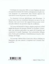 Dire Le Monde Vocabulaire Thematique Francais-Espagnol Contemporain - 4ème de couverture - Format classique