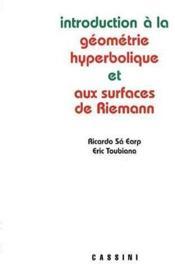 Introduction à la géométrie hyperbolique et aux surfaces de Riemann - Couverture - Format classique