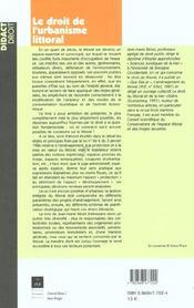 Le droit de l'urbanisme littoral - 4ème de couverture - Format classique