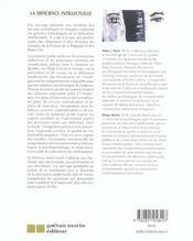 La deficience intellectuelle - 4ème de couverture - Format classique