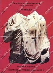 ANTIQUES. [TORQUE IV° SIECLE. VERSEUSE IRAN POST SASSANIDE. CHAR IRAN AMLASH II° MILLENAIRE. OUSHEBTI XXVI° DYNASTIE SAITE. BUSTE D'HOMME ROME II° SIECLE APRES JC. MINERVE II° SIECLE APRES JC.EROS ROME II° SIECLE APRES JC..]. 18/02/1990. (Poids de 59 gra - Couverture - Format classique