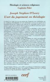 L'art du jugement en théologie - 4ème de couverture - Format classique