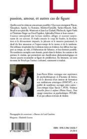 Passion, amour et autres cas de figure ; liminaire de Sigmund Freud - 4ème de couverture - Format classique