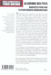 La guerre des psys. manifeste pour une psychotherapie democratique - 4ème de couverture - Format classique