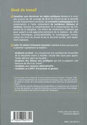 Droit du travail (14e edition) - 4ème de couverture - Format classique