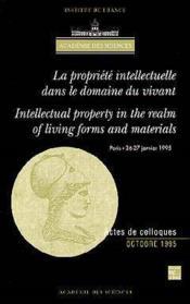 Propriete intellectuelle dans le domaine du vivant (bilingue) - Couverture - Format classique