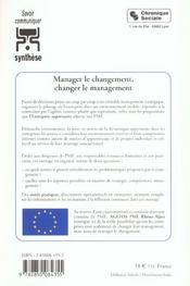 Manager le changement, changer le management l'entreprise apprenante - 4ème de couverture - Format classique