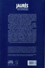 Cours De Philosophie - Oeuvres Philosophiques I - 4ème de couverture - Format classique