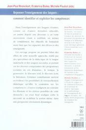 Repenser l'enseignement des langues comment identifier et exploiter les competences ? - 4ème de couverture - Format classique
