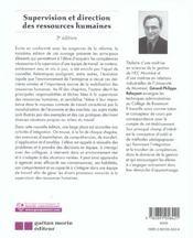 Supervision Et Direction Des Ressources Humaines - 4ème de couverture - Format classique