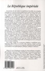 La République impériale ; politique et racisme d'état - 4ème de couverture - Format classique