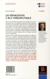 Les séparations à but thérapeutique (2e édition) - 4ème de couverture - Format classique