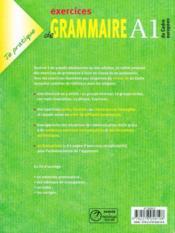 Exercices De Grammaire, Niveau A1 ; Version Internationale - 4ème de couverture - Format classique