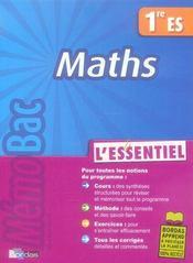 Maths ; 1ère ES - Intérieur - Format classique