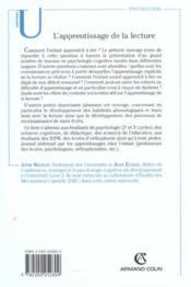 L'apprentissage de la lecture - fonctionnement et developpement cognitifs - Couverture - Format classique