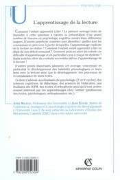 L'apprentissage de la lecture - fonctionnement et developpement cognitifs - 4ème de couverture - Format classique