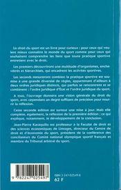 Le Droit Du Sport - 4ème de couverture - Format classique