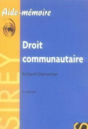 Droit communautaire (3e edition) - Intérieur - Format classique