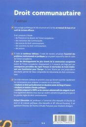 Droit communautaire (3e edition) - 4ème de couverture - Format classique