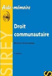 Droit communautaire (3e edition) - Couverture - Format classique