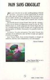 Pain sans chocolat ; un jeune corse à Paris, 1930-1945 - 4ème de couverture - Format classique