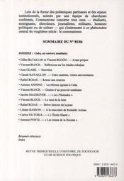 Revue Communisme T.85-86 ; Cuba Un Univers Totalitaire - 4ème de couverture - Format classique