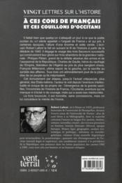 Vingt Lettres Sur L'Histoire A Ces Cons De Francais Et Ces Couillons D'Occitans - 4ème de couverture - Format classique