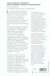 Vision, Espace Et Cognition. Fonctionnement Normal Et Pathologique - 4ème de couverture - Format classique