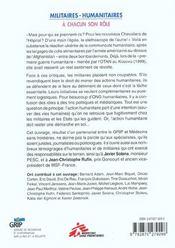 Militaires - Humanitaires - 4ème de couverture - Format classique