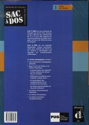 Sac à dos t.3 ; guide pédagogique niveau b1 - 4ème de couverture - Format classique