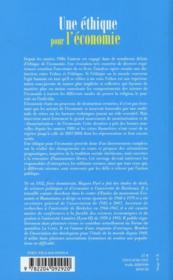 Une éthique pour l'économie ; ethos, crises, choix - 4ème de couverture - Format classique
