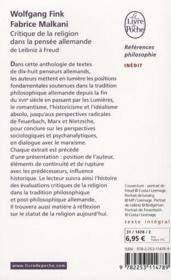 La critique de la religion dans la pensée allemande de Leibniz à Freud - 4ème de couverture - Format classique