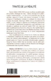 Traité de la réalité - 4ème de couverture - Format classique