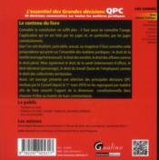 L'essentiel des grandes décisions de la QPC - 4ème de couverture - Format classique