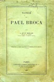 Notice Sur Paul Broca - Couverture - Format classique