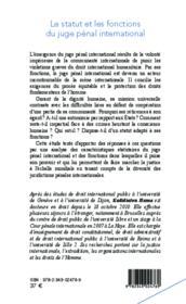 Le statut et les fonctions du juge penal international - Couverture - Format classique