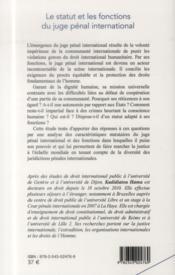 Le statut et les fonctions du juge penal international - 4ème de couverture - Format classique