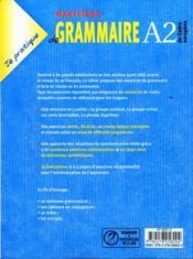 Je pratique ; exercices de grammaire ; niveau A2 - 4ème de couverture - Format classique