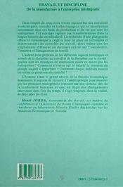 Travail et discipline ; de la manufacture à l'entreprise intelligente - 4ème de couverture - Format classique