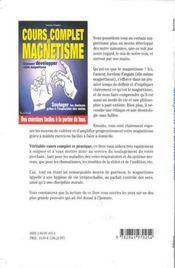 Cours complet de magnétisme - 4ème de couverture - Format classique