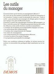 Outils Du Manager - 4ème de couverture - Format classique