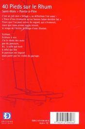 40 pieds sur le rhum 2002 - 4ème de couverture - Format classique