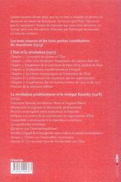 Oeuvres choisies t.1 ; l'état et la révolution, renégat kautsky, trois sources constitutives du marxisme - 4ème de couverture - Format classique