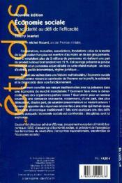Économie sociale ; la solidarité au défi de l'efficacité - 4ème de couverture - Format classique