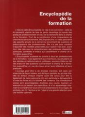 Encyclopédie de la formation - 4ème de couverture - Format classique
