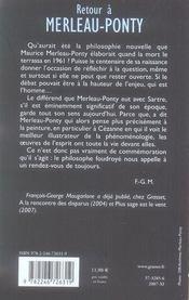 Retour à Merleau-Ponty - 4ème de couverture - Format classique