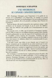 Une sociologue au Conseil constitutionnel - 4ème de couverture - Format classique