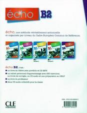 Echo ; Français ; Niveau B2 ; Livre Du Professeur - 4ème de couverture - Format classique