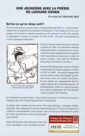 Deep café ; une jeunesse avec la poésie de Léonard Cohen - 4ème de couverture - Format classique